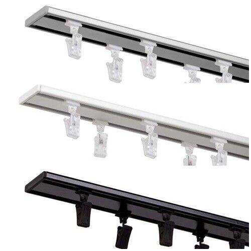 2 läufig Gardinenstange Innenschiene Decke weiße schwarz Aluminium Vorhang Slim