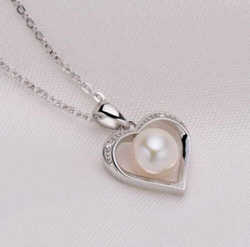 """Sterling Silver Freshwater Pearl Heart CZ Pendant Necklace 18/"""" Chain Gift PE4"""