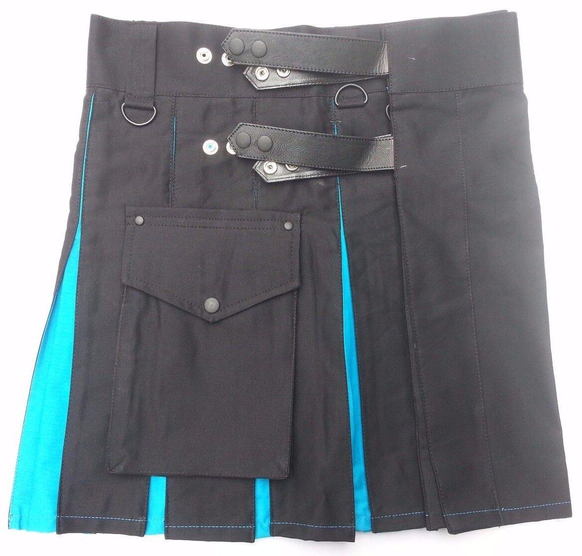 Ladies Hybrid Leather Straps Black Modern Cotton Utility Kilt - Adjustable Sizes