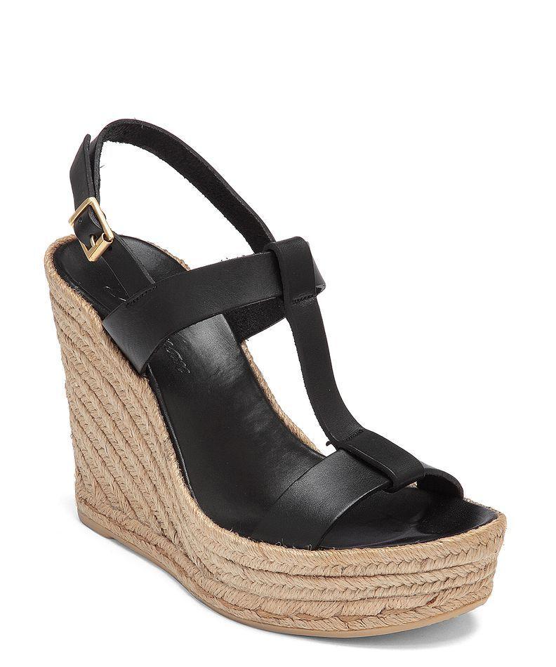 Delman Women's Black Trish Black Women's Leather Espadrille Wedges 1183 Size 7.5 M e9ac95