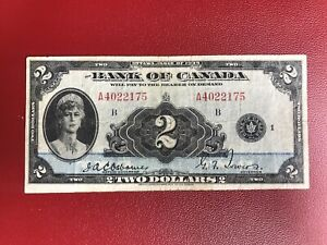 ULTRA-RARE-1935-BANK-OF-CANADA-2-BANKNOTE-IN-VF-CONDITION