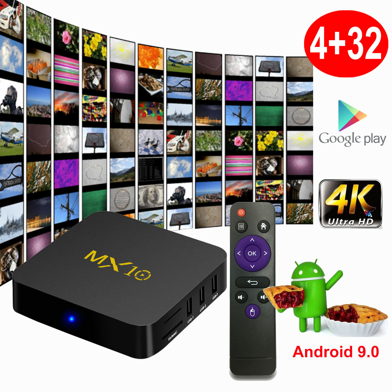 2019 MX10 Android 9.0 Pie 4+32GB 4K Media Player Smart TV BOX Quad Core USB 3.0 Featured