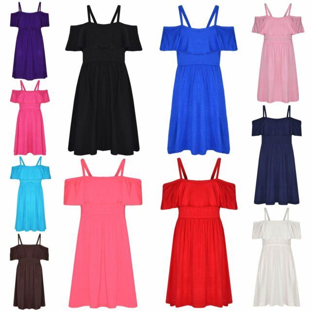 2af7f43a05602 Girls Skater Dress Kids Plain Color Summer Party Off Shoulder Dresses 7-13  Yr