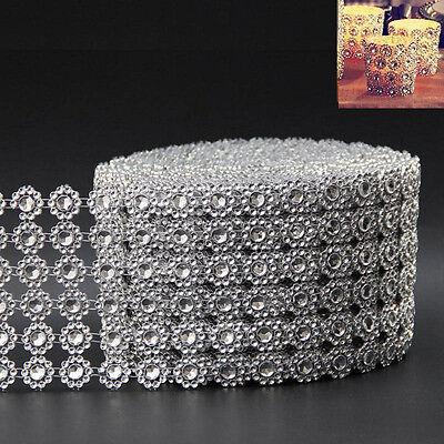 Newly Rhinestone Ribbon Party Fake Diamond Mesh Wrap 1 Yard Candle Holder Decor