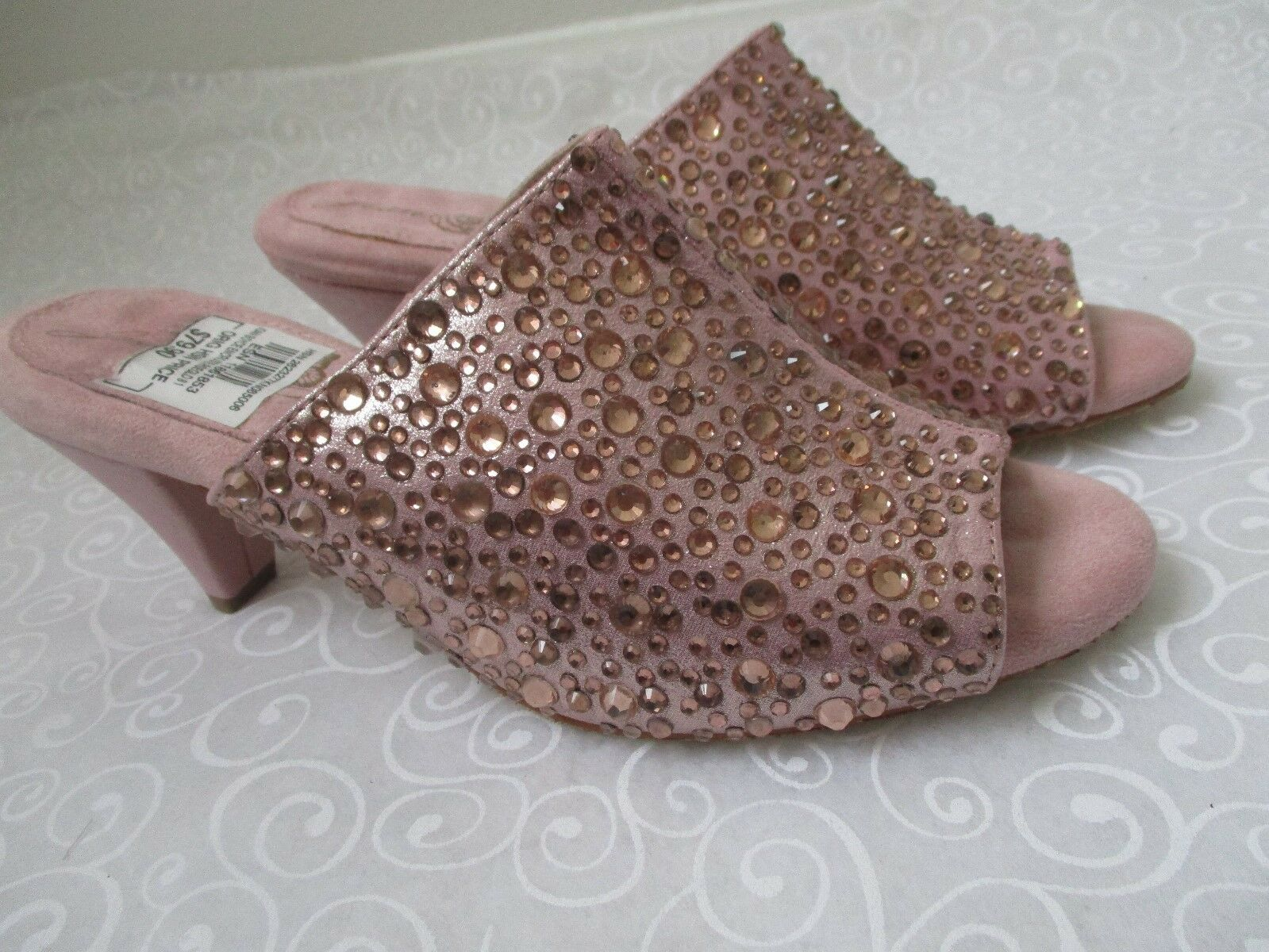 JOAN BOYCE ENCRUSTE pink gold RHINESTONE OPE TOE SHOES SIZE 8 1 2 M - NEW
