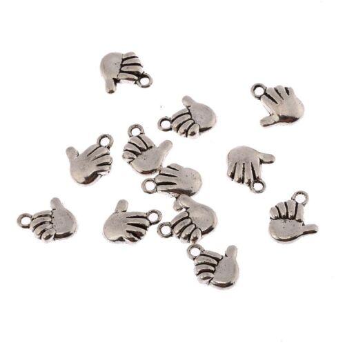 Main Thumbs Up 3D Beads Tibetan Silver Charms pendentif À faire soi-même Bracelet 10*10mm 10pcs