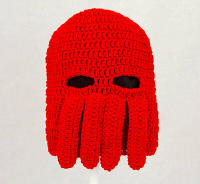 Lobster Doctor Ski Mask Hat, Comic Con Cosplay Knit Crochet Red Squid Beanie