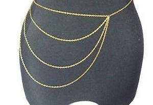 bord-Chaine-de-corps-bijoux-BIKINI-Waist-Or-Ventre-plage-Harnais-ESCLAVE-collier