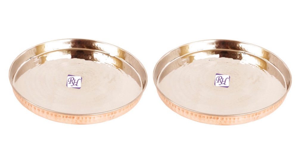 Set of 2 Hammerouge Steel Copper Full Dinner Plate- Serving Food Rice - Home Hotel
