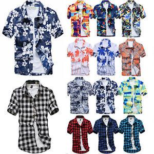 Men-Hawaiian-T-Shirt-Short-Sleeve-Summer-Holiday-Floral-Beach-Casual-Shirts-Tops