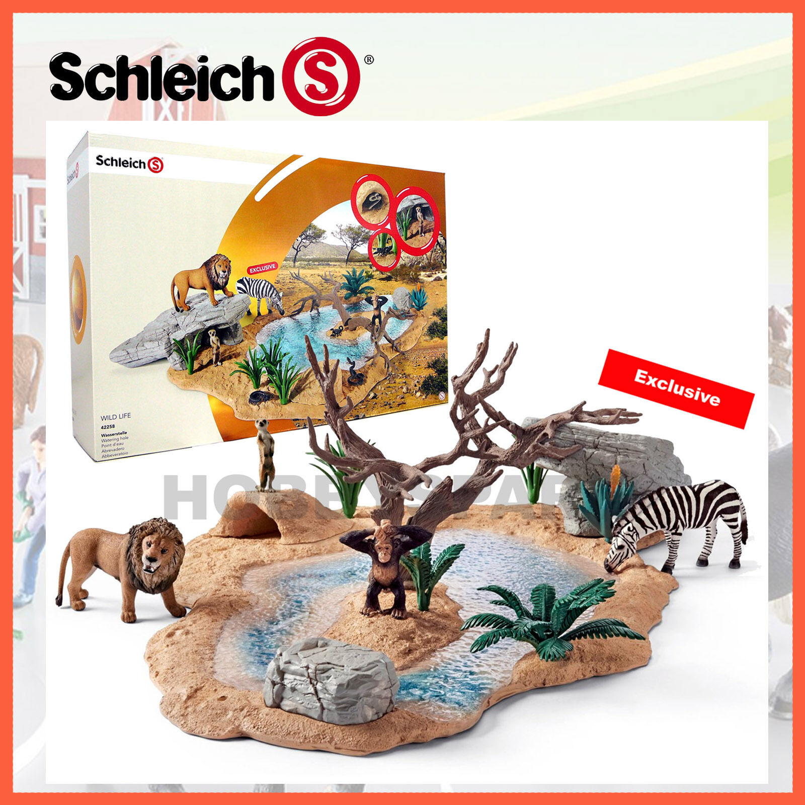 nuovo SCHLEICH  WILD LIFE WATERING HOLE SET with EXCLUSIVE ZEBRA 42258 He PAINTED  servizio di prima classe