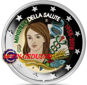 2-Euro-Commemorative-Italie-2018-en-Couleur-Type-C-Ministere-de-la-Sante