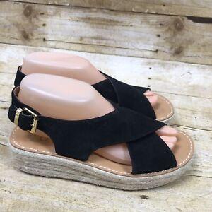 2314225d73c Details about Dolce Vita Target Espadrille Wedge Sandal Women's size 7  Black Platform Tan Heel