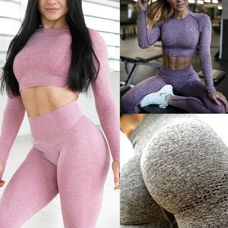 Women Yoga Pants Seamless High Waisted Fitness Leggings Gym Sports Pants Trouser