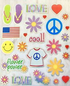 Foil-Groovy-Peace-Flower-Power-Stickers-Party-Favors-Teacher-Supply-Love-Hearts