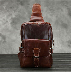 Genuine Leather Messenger Sling Hiking Back Pack Travel Men Shoulder Chest Bag