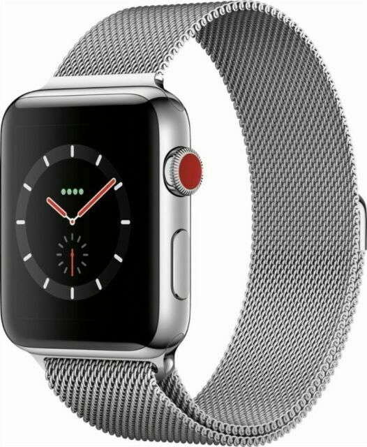 Apple Watch Series 3 42mm Stainless Steel Case With Milanese Loop Gps Cellular Mr1j2ll A For Sale Online Ebay