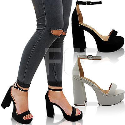 Nuevas señoras de la alta Bloque Talón Plataforma Peep Toe Tira al Tobillo Zapatos Sandalias Tamaño