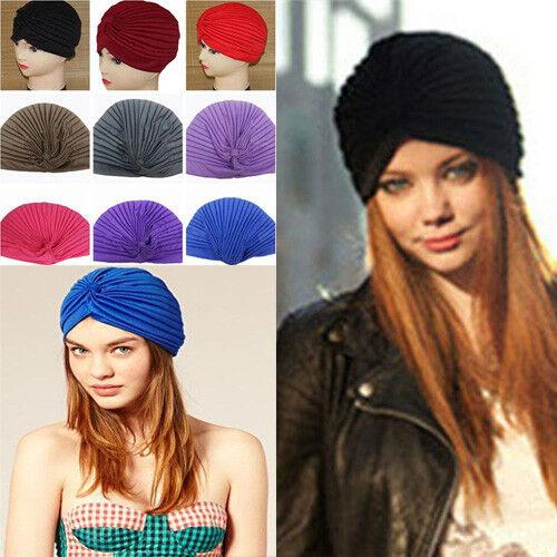 New Fashion Stretchy Turban Head Wrap Band Chemo Bandana Hijab Pleated Cap Hat