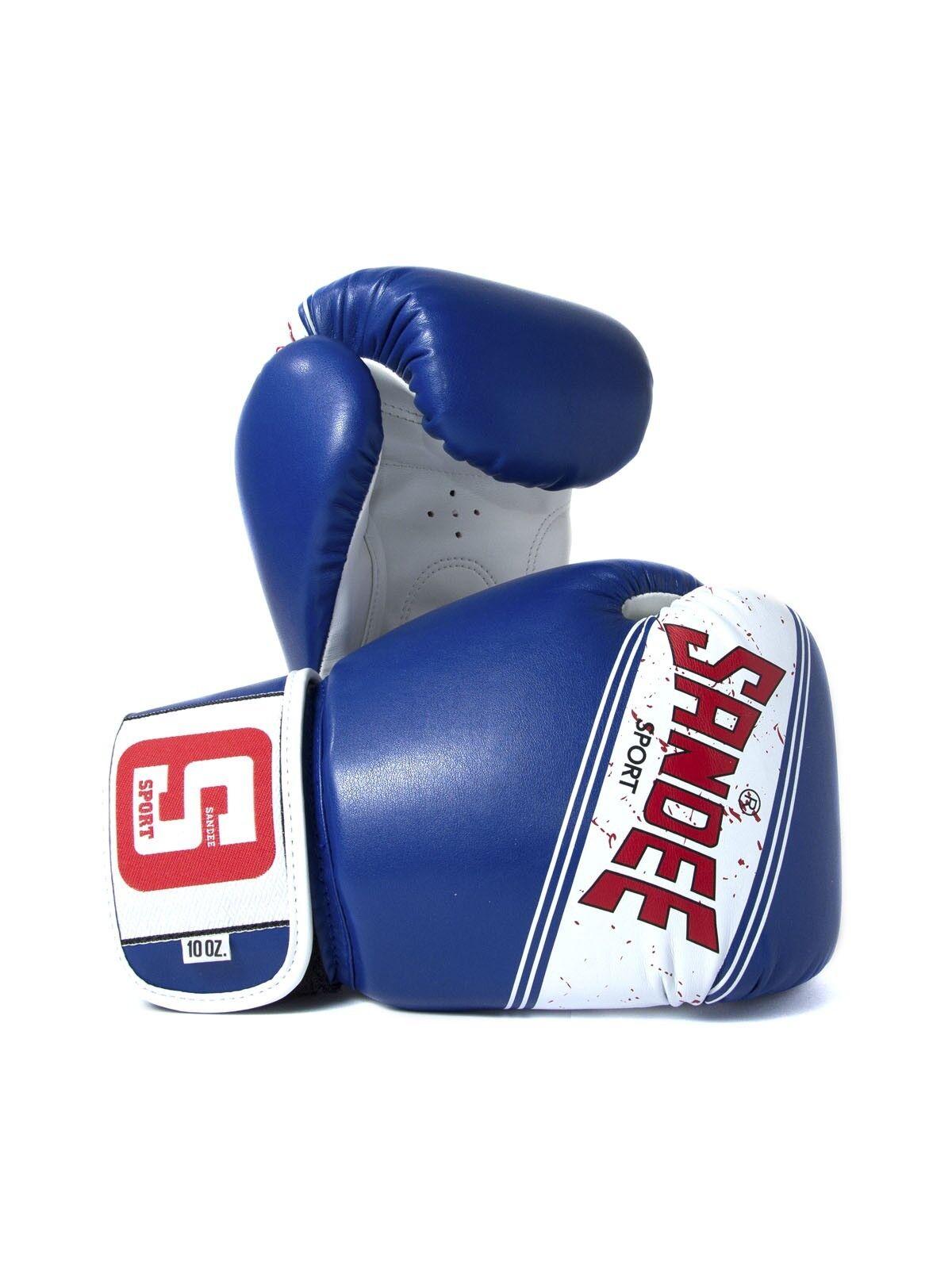 Sandee Sport Velcro Blau & Weiß Muay Thai Boxing Gloves