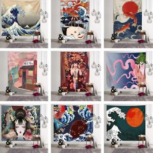 Wall-Hanging-Tapestry-Japanese-Ukiyoe-Crane-Print-Bedspread-Yoga-Mat-Blanket