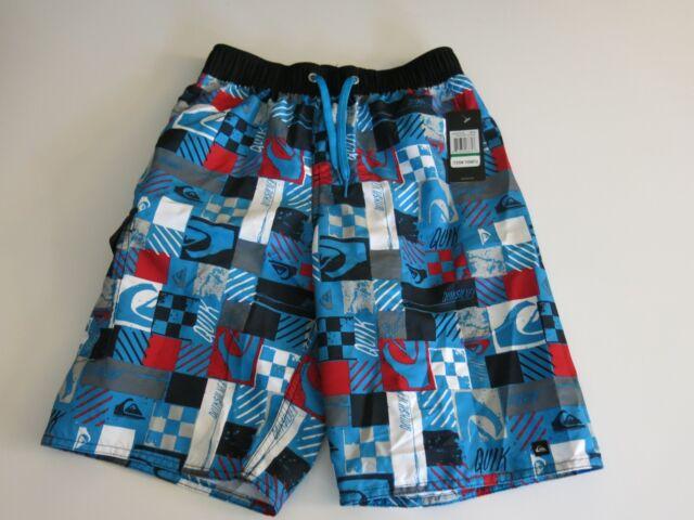 Boys Black Tropical Hawaiian Plaid Swim Trunks Board Shorts