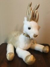 Russ Caress Soft Pets Plush White Gold Reindeer Bells Christmas Glisten
