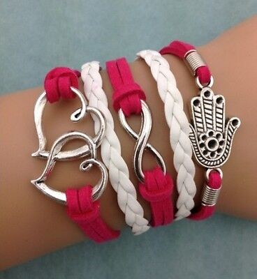 NEW Infinity Heart Hand Leather Charm Bracelet plated Silver DIY HOT