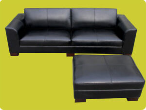 Pleasant Details About Modern Black Leather Sofa Ottoman Set Couch Furniture Spiritservingveterans Wood Chair Design Ideas Spiritservingveteransorg