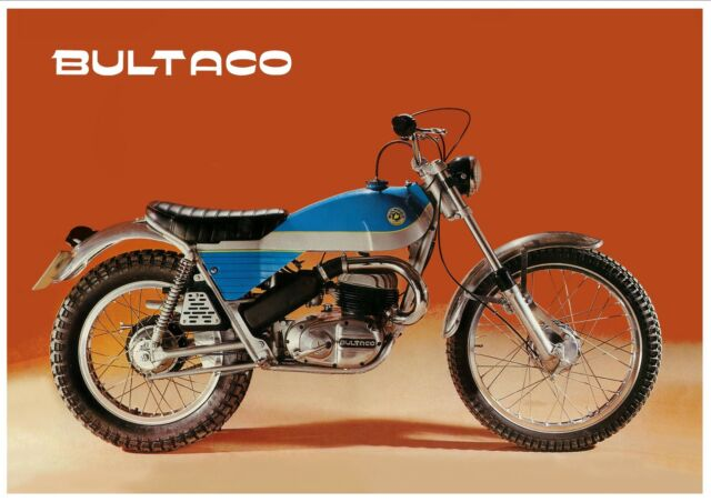 BULTACO Poster Alpina 350 250 Trials 1971 1972 1973 1974 Suitable 2 Frame Sherpa