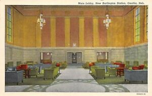 Omaha-Nebraska-1930-40s-Postcard-New-Burlington-Train-Station-Lobby