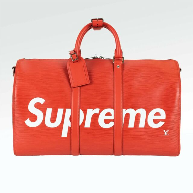 100 Authentic New Supreme X Louis Vuitton Keepall Bandouliere 45 Red M53419