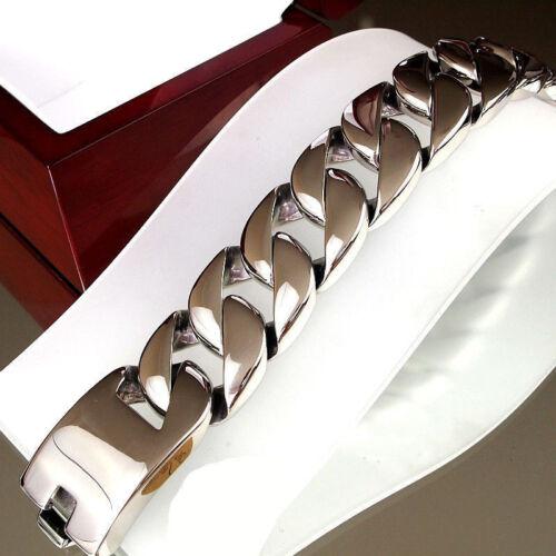 Hombres de acero inoxidable pulido de plata grandes bordillo pesada Cubano Cadena Pulsera Brazalete