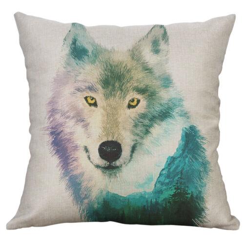 Fashion Paintin wolf eagle Dog Cotton linen Home Decor pillow case Cushion Cover