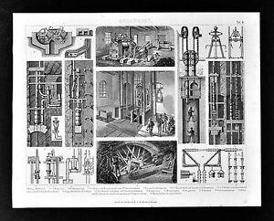 1874-Bilder-Mining-Print-Mine-Shaft-Apparatus-Elevators-Water-Pumps-Bergwesen
