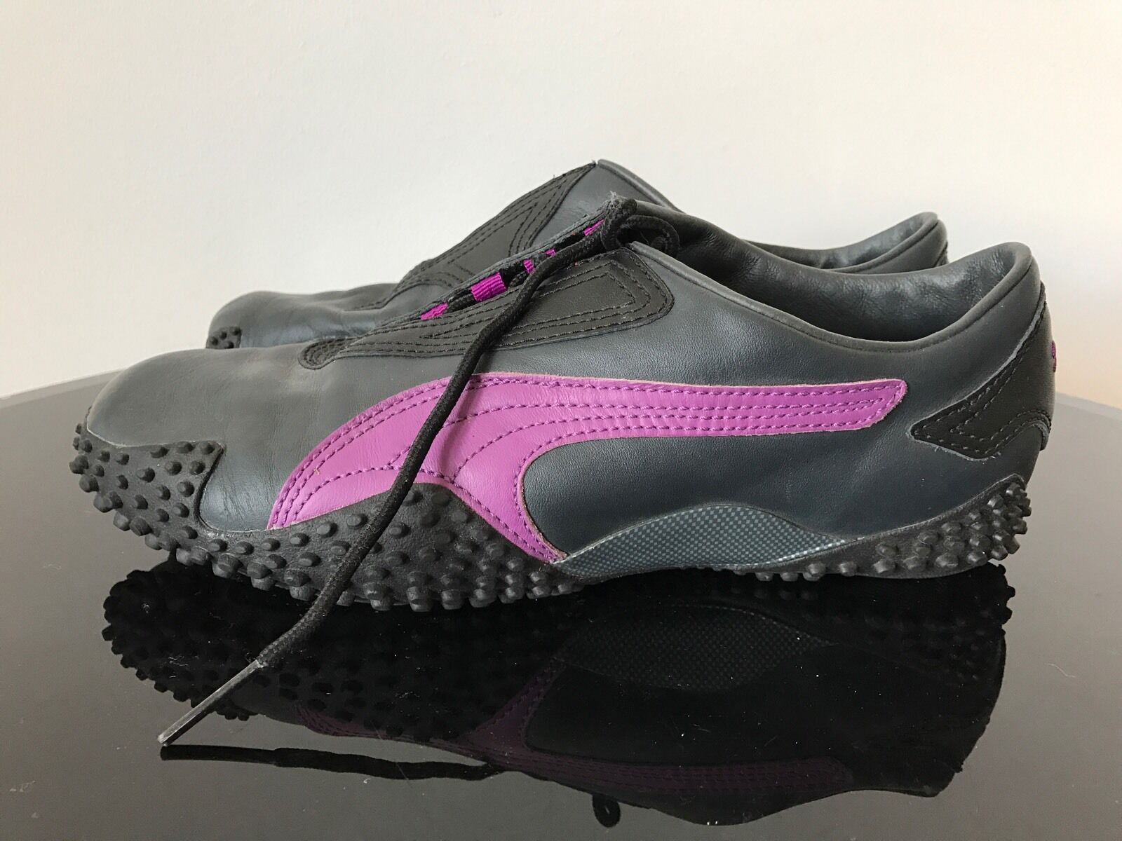 Puma Mostro Lace Up Dark Gris Leather Violet Stripe Sport Trainers Shoes8