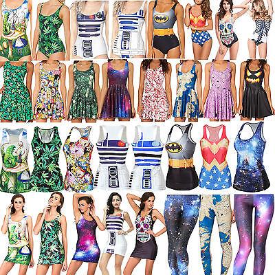 Women Digital Printed One Piece Bikini Set Tank Top Short Skirt Dresses Leggings