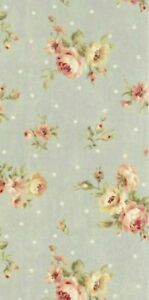 Cottage-Shabby-Chic-Lecien-Durham-Quilt-Roses-Floral-31927L-71-Dusty-Blue-BTY