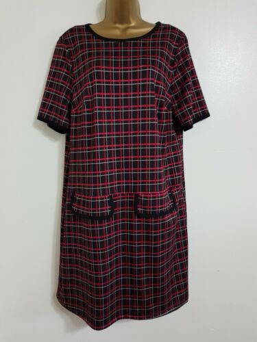 NEW Ex Yours Plus Size 16-32 Red Black White Checked Tartan Shift Dress Smart