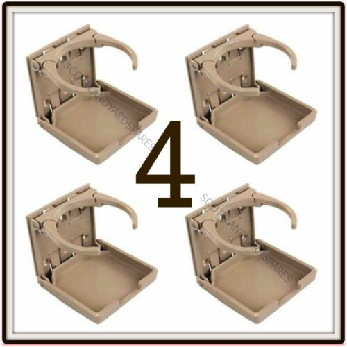 4  X BEIGE TAN AUTO CAR SUV TRUCK  BOAT FOLDING ADJUSTABLE CUP DRINK HOLDER FOUR