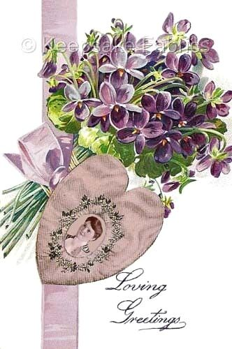Victorian Violets Love Greeting Quilt Block Multi Sizes FrEE ShiPPinG WoRld WiDE