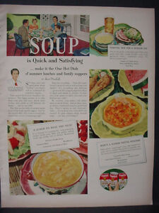 Details about 1951 Anne Marshall Campbell's Chicken Noodle Cream Celery  Soup VTG Print Ad12322