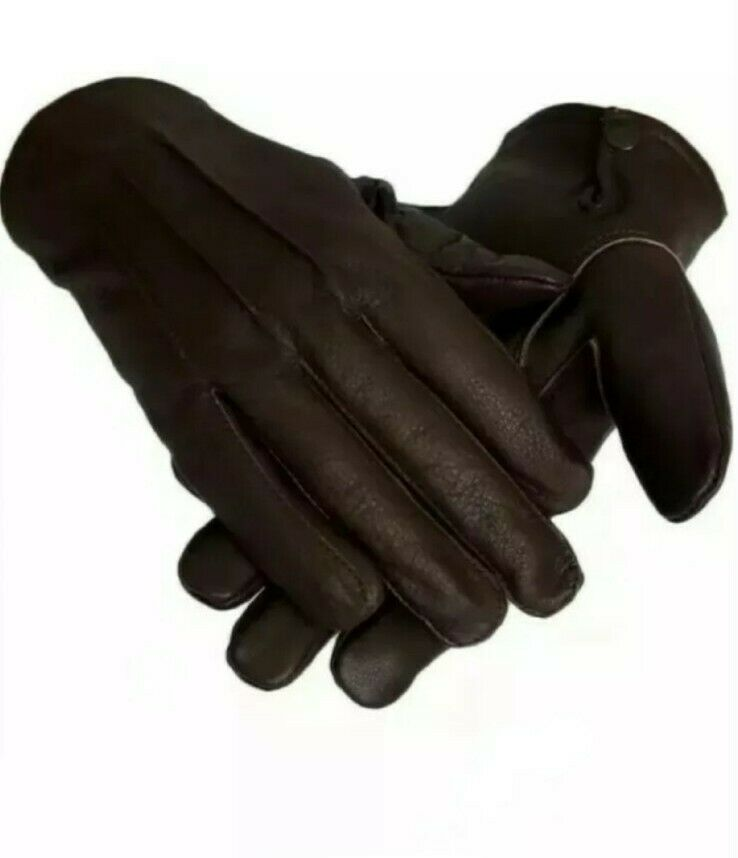 Leather Sheepskin Gloves Brown (Men)