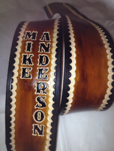 """Personalized 3/"""" Custom Leather Guitar Strap"""