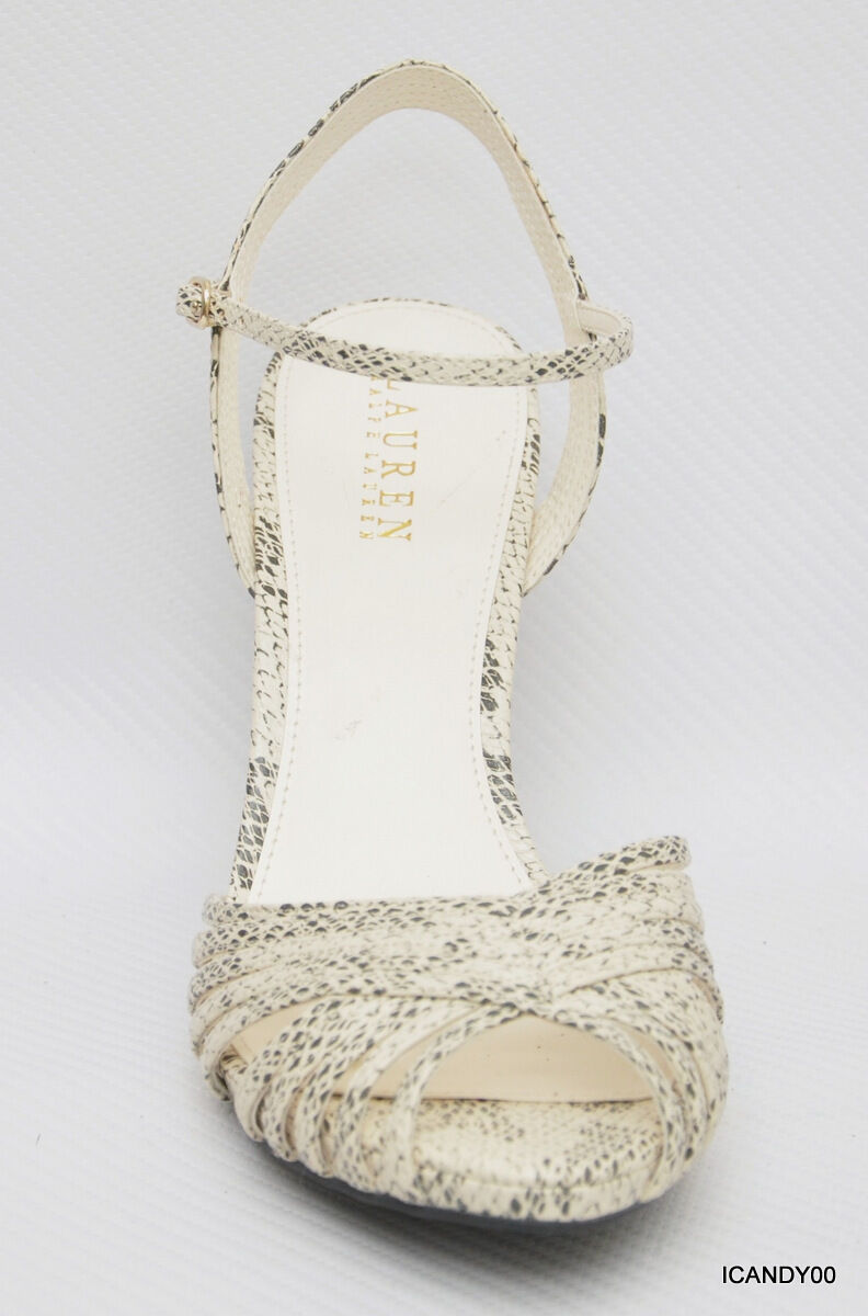 New New New Ralph Lauren KATARINA Strappy Sandal Pump Peep Toe Ankle Strap Ivory 9 9ec2c9