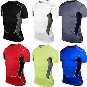 Mens-Sports-Compression-Under-Skins-Baselayer-Short-Sleeve-T-Shirt-Athletic-Tops