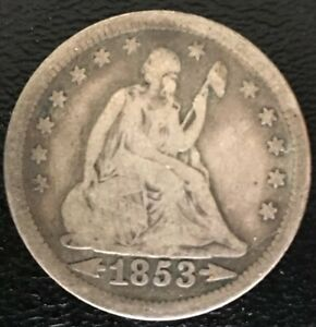 1853 Type 2 Philadelphia Mint Silver Seated Liberty Quarter with Arrows and Rays