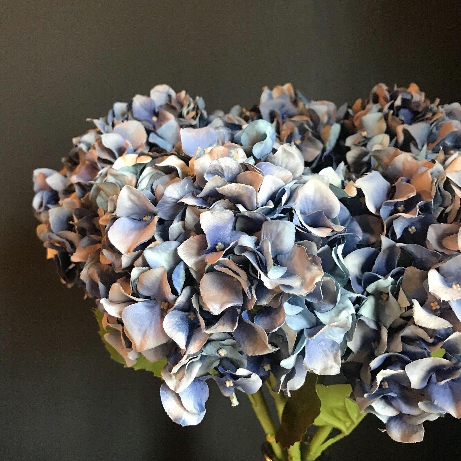 3 3 3 Extra Large Light Blau Faux Silk Lacecap Hydrangea Realistic Artificial Flower f58419