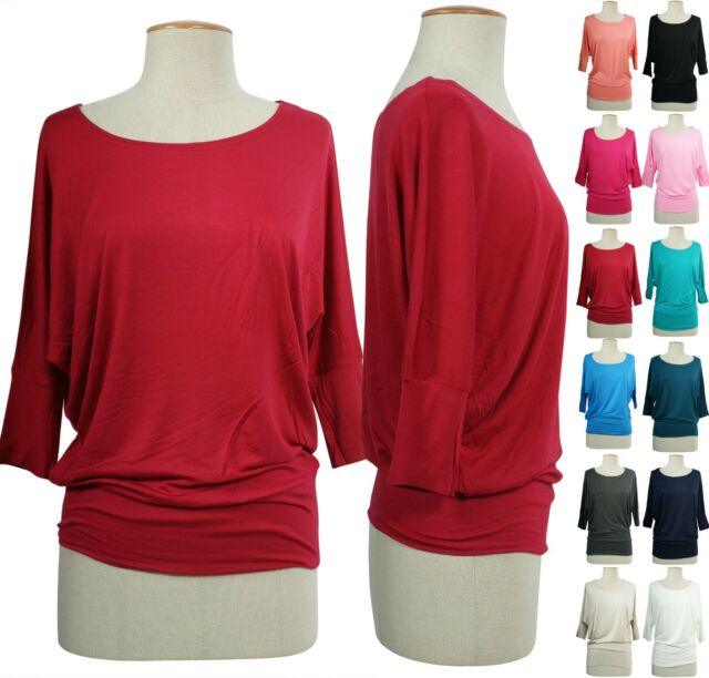Women Banded Batwing Dolman Sleeve Knit Slouchy Jersey Tee Shirt Tunic Top