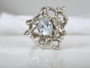Vintage-Sterling-Silver-MOD-Brutalist-Modernist-Blue-Topaz-Hand-Cast-Ring-Size-7